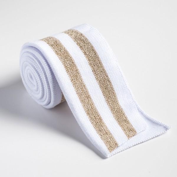Strickbündchen weiß mit gold-glitzer 90 cm, *SALE*