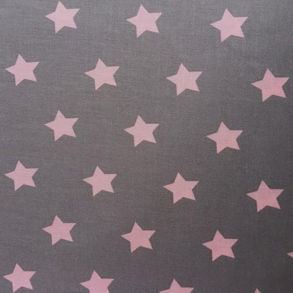 Annika Sterne rosa auf graubraun, Webstoff