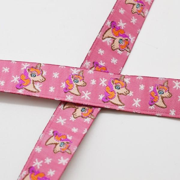 Einhorn mit Sternen, pink, Webband