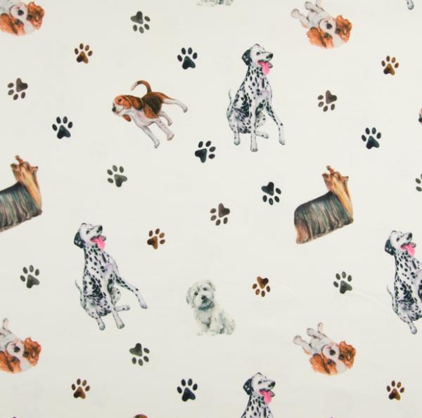 Digitaldruck Dogs auf offwhite, Jersey