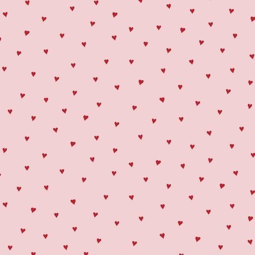 Kleine Herzen rot auf rosa Baumwollstoff, 60°waschbar