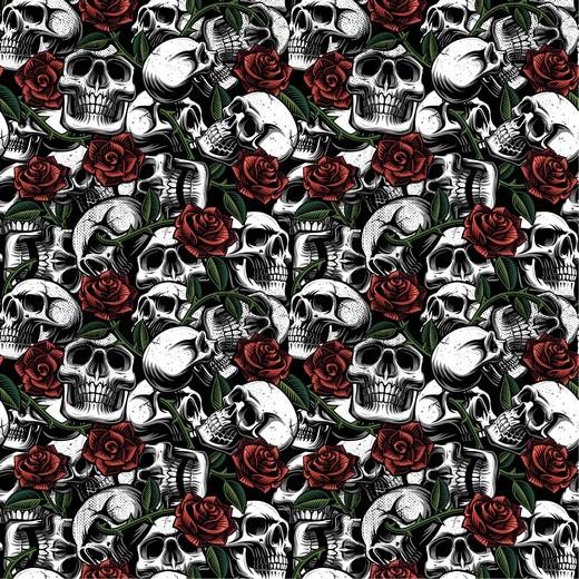 Baumwolllstoff, Skulls with Roses, waschbar bei 60°