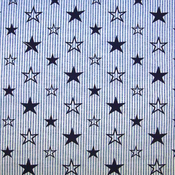 Feiner Streifenstoff mit Sternen jeansblau-weiß, Yarn Dyed