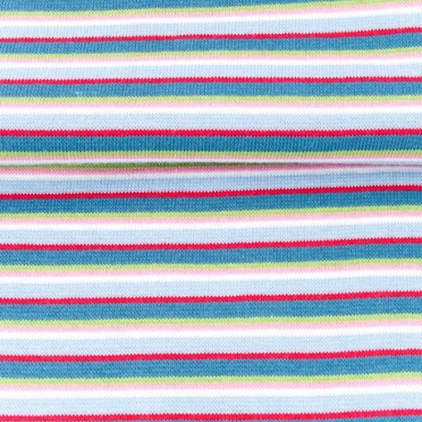 Ringelbündchen multicolor breit mit blau/rot
