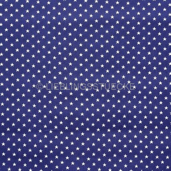 Stenzo Mini-Sterne weiß auf dunkelblau, Popeline
