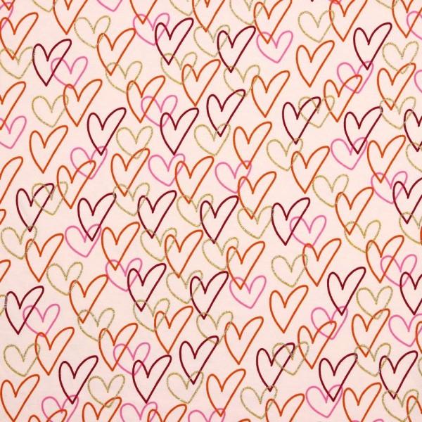 Digitaldruck, Sweet Hearts mit gold auf hellrosa, Bio-Jersey