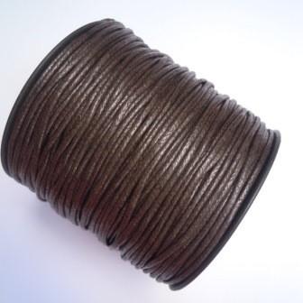 gewachste Baumwollschnur, 2mm, dunkelbraun