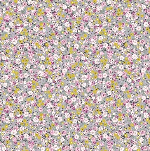 AUSVERKAUFT! Silvy Blümchen rosa-grau, Webstoff, *Letztes Stück ca. 120 cm*