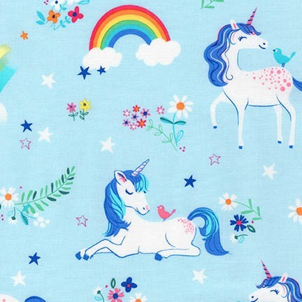 Happy Little Unicorns Blue, Webstoff