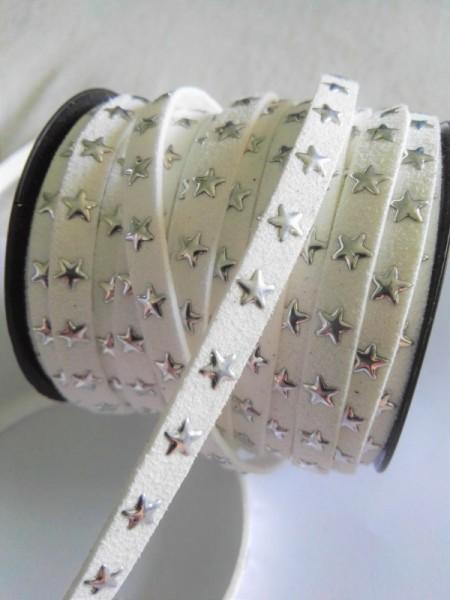 Lederband, Sterne, weiß
