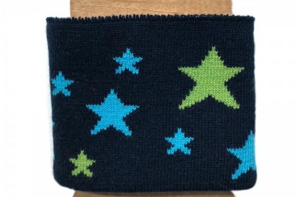 Strickbündchen mit Sternen dunkelblau, 110 cm