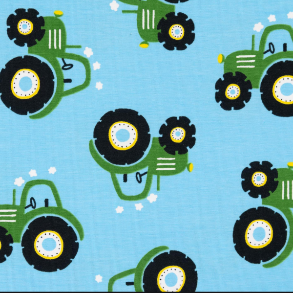Traktor grün auf hellblau, Jersey