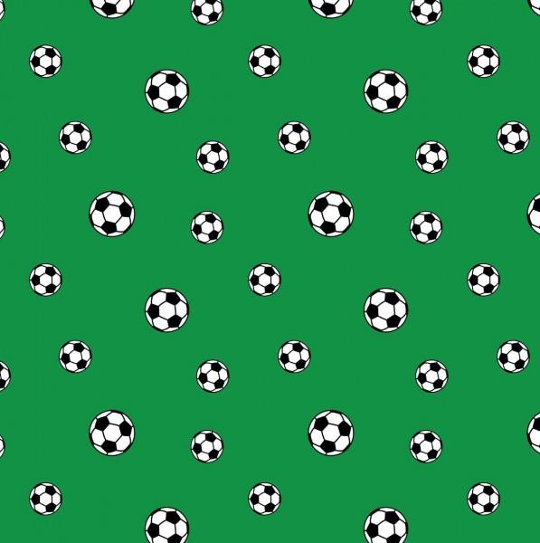Fußbälle auf grün, Baumwoll-Popeline