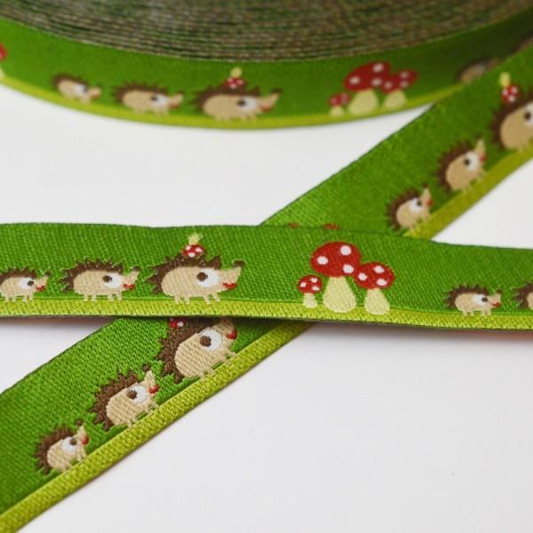 Igelfamilie und Schwammerl, olivgrün, Webband