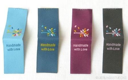 Blattwerk Handmade, 4 verschiedene Farben, Einnäher