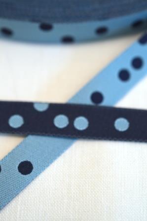 Punkteband, hellblau-marine, Webband beidseitig