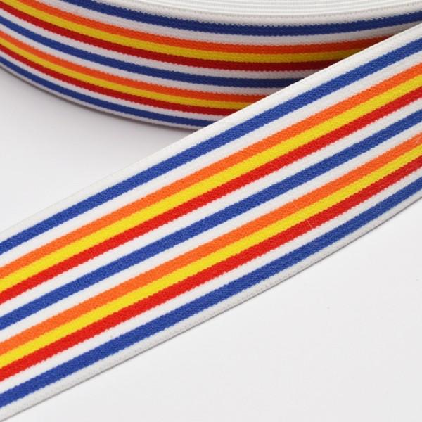 Gummiband breit, schmale Streifen gelb-rot-blau