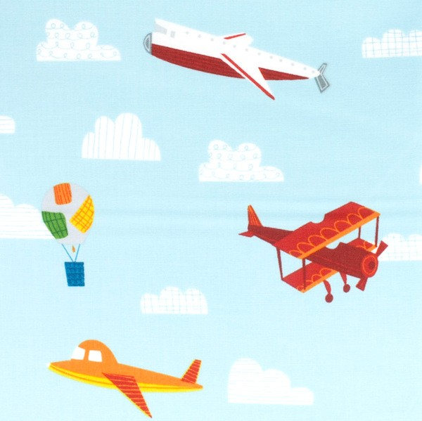 On The Go, Bunte Flugzeuge auf hellblau, Webstoff