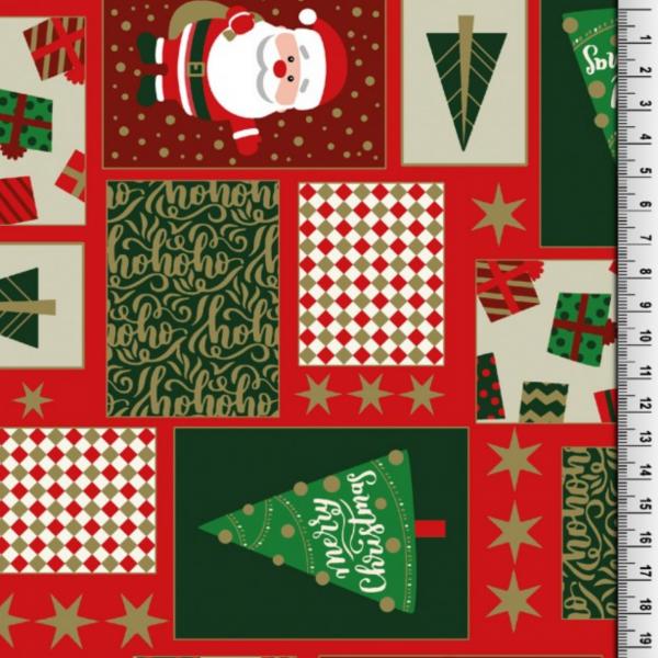 Weihnachtsmann&Co rot, Baumwollstoff