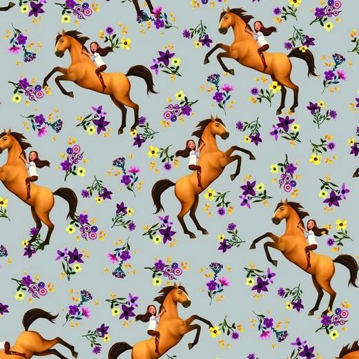 Digitaldruck, Horse Spirit&Girl auf grau, Jersey