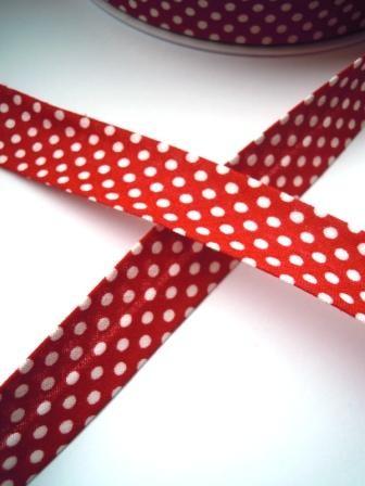 Schrägband, gepunktet, weiß auf rot