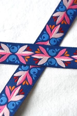 Leafy Canopy, blau-pink, Webband *SALE*