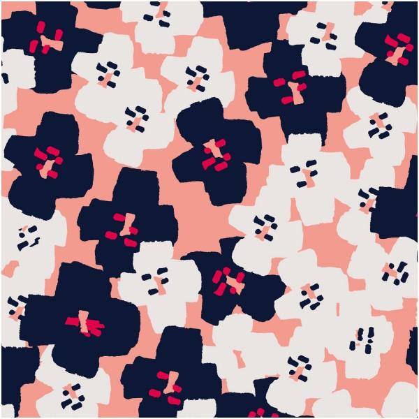 Dekostoff, Okina Hana, rosa/offwhite/dunkelblau