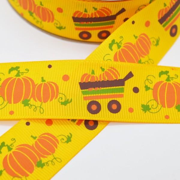 Ripsband, Halloween Kürbisse im Wagen auf gelb