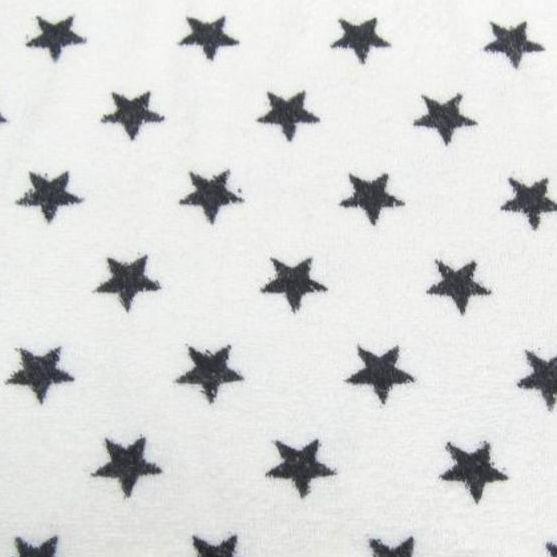 Frottee, weiß mit großen dunkelgrauen Sternen
