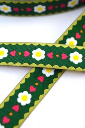 Frl. Gänseblüm, waldgrün, Webband