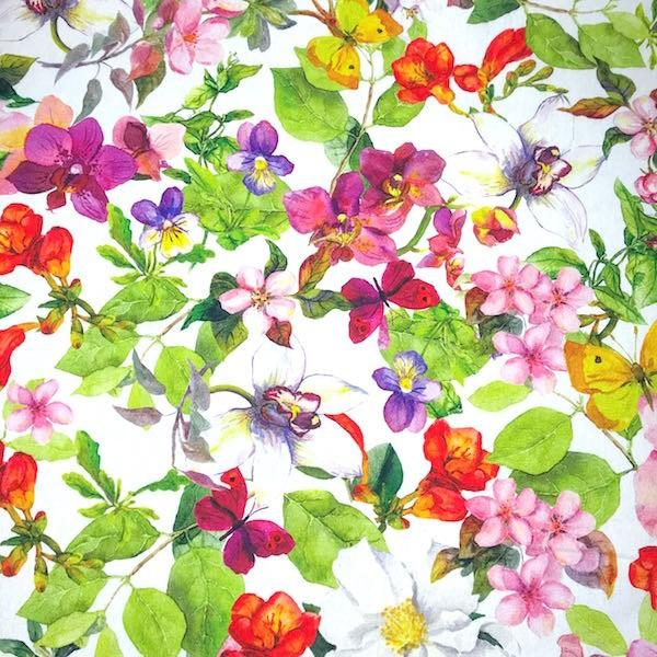 Dekostoff Digitalprint Flowers&Butterfly