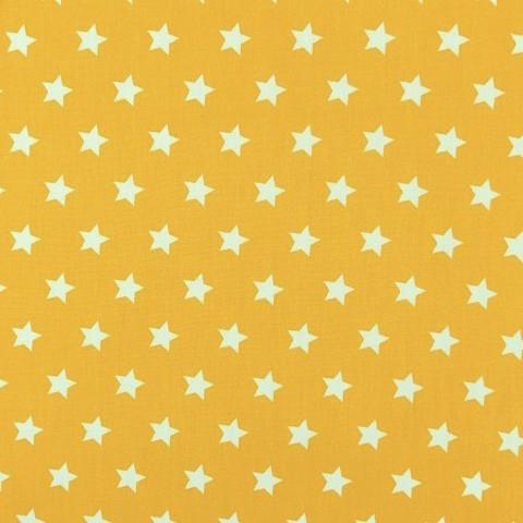 Lili Small Star weiß auf dunkelgelb, Webstoff, waschbar bei 60°