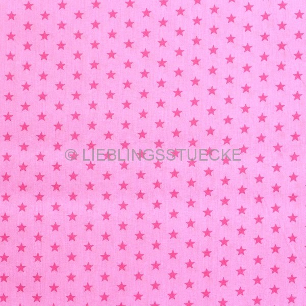 Stenzo kleine Sterne, pink auf rosa, Popeline