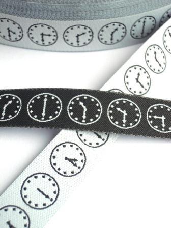 Zeitfresser, weiß-schwarz, Webband beidseitig