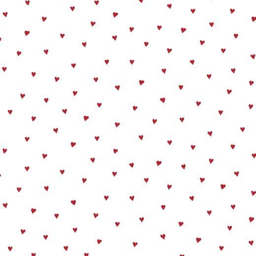 Kleine Herzen rot auf weiß Baumwollstoff, 60°waschbar
