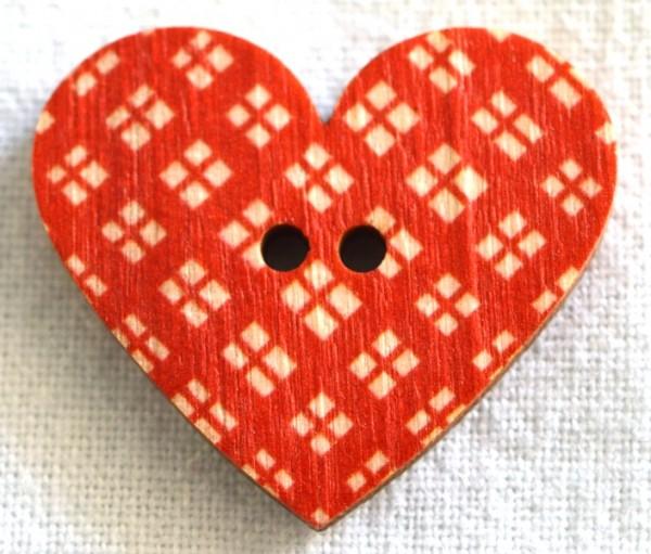 Herz, rot kariert, Holzknopf