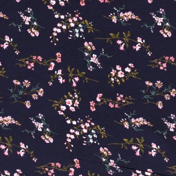 Viskosewebstoff Wiesenblümchen dunkelblau