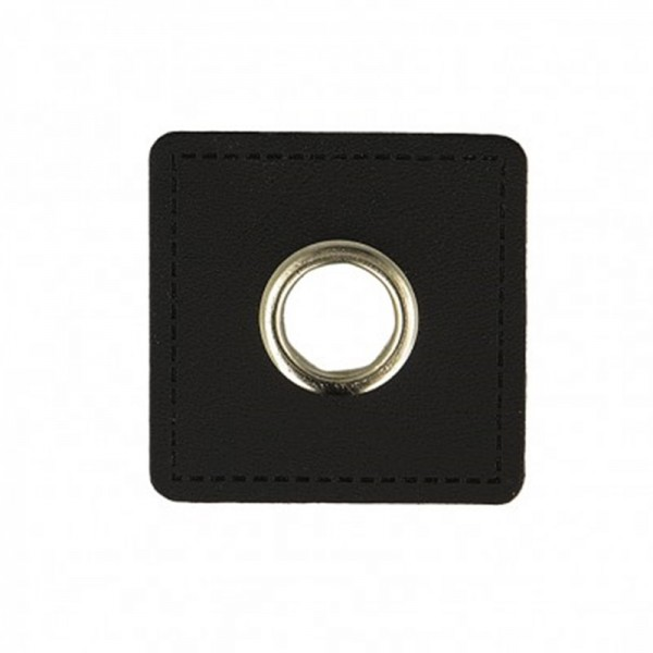 Kunstleder Ösenpatch, Quadrat 10 mm Ø, schwarz