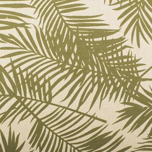 Dekostoff, Palmenblätter khaki auf leinen