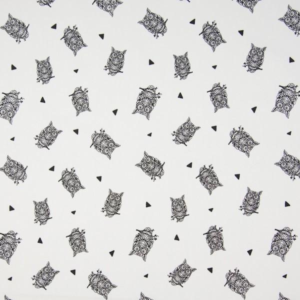 Owls, offwhite, Webstoff