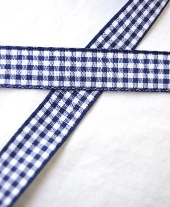 Stoffband, dunkelblau kariert, 15 mm