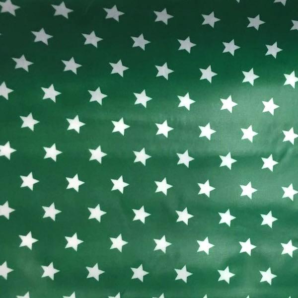 Laminat/Wachstuch, Sterne weiß auf grün