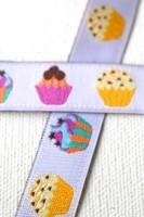 bunte Cupcakes, weiß, Webband