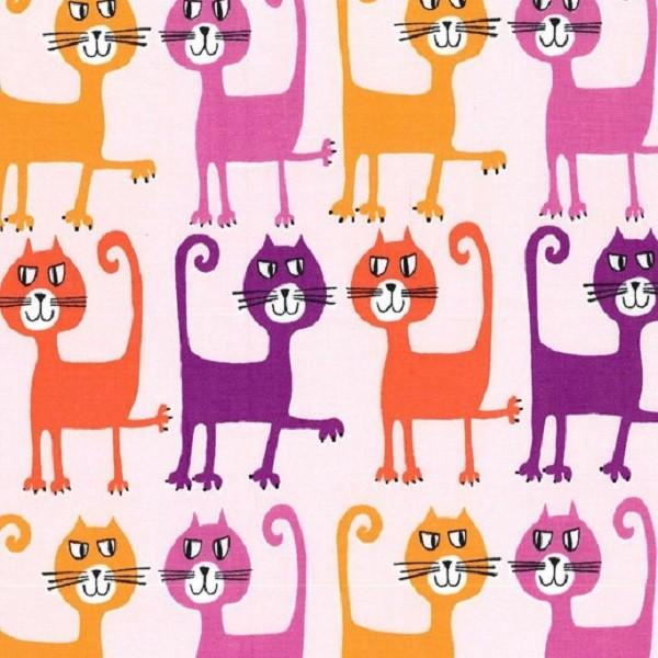 R. Kaufman, Katzen auf hellrosa, Webstoff