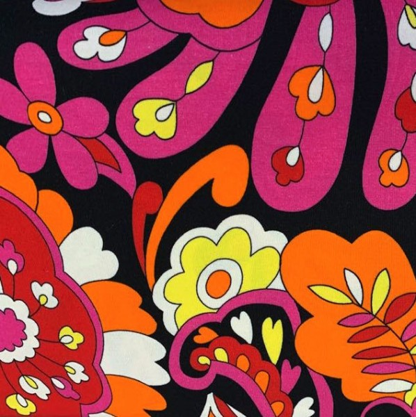 70er Flowers, pink/orange/schwarz, Jersey