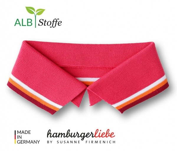 Polo Me Stripe, Polokragen, pink-orange, Größe M