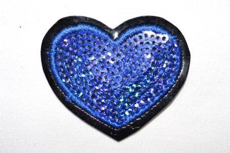 Applikation Herz mit Pailletten, dunkelblau