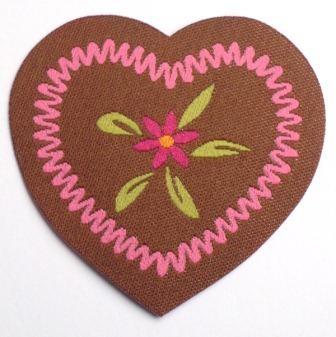 Applikation Herz mit Blume, pink