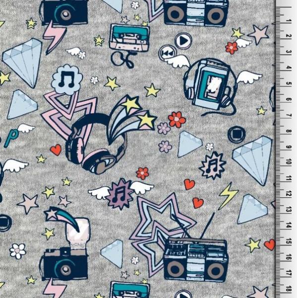AUSVERKAUFT! Digitaldruck Music&Radio auf grau, Jersey, *Letztes Stück ca. 100 cm*