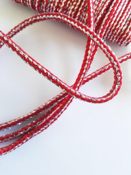 Glitzerflechtkordel, rot-silber